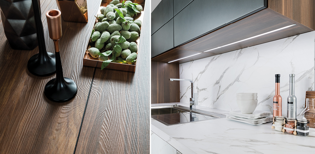 Kjøkken benk i laminat med marmor look